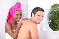 Couple in the bathroom. Young couple in the bathroom Royalty Free Stock Photo