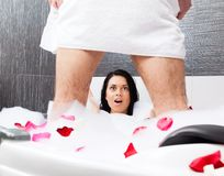 Couple in bathroom Royalty Free Stock Photography
