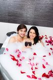 Couple in bathroom Stock Images
