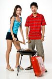 Couple and BBQ Royalty Free Stock Photography