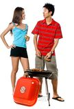 Couple and BBQ Stock Photo