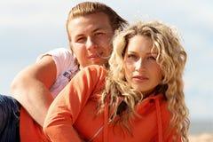 Couple on a beach stock photos