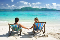 Couple on a beach Royalty Free Stock Image