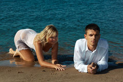 Couple on the beach Stock Image