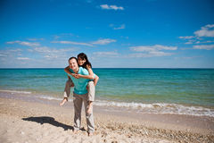 A couple on beach Royalty Free Stock Photo