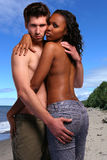 Couple on the beach royalty free stock photography
