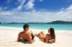Couple on a beach Royalty Free Stock Photo