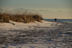 Couple on Beach. Couple walking on beach in winter in Anchorage, AK stock photo