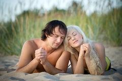 Couple on the beach Royalty Free Stock Images