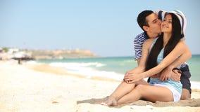 Couple on the beach. stock footage