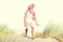 Couple Beach Bonding Getaway Romance Holiday Concept.  Royalty Free Stock Photo
