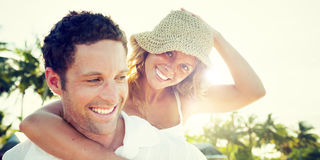 Couple Beach Bonding Getaway Romance Holiday Concept Stock Images