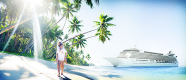 Couple Beach Bonding Romance Holiday Concept Stock Photography
