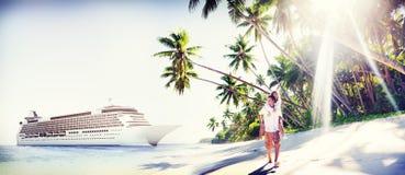 Couple Beach Bonding Romance Holiday Concept Stock Photos