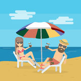 Couple at the beach. Couple at the beach on the chair with cocktails. Seashore vacation. Sunbathing and honeymoon stock illustration