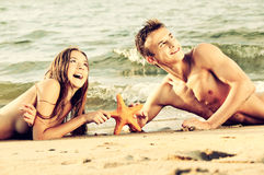 Couple at the beach Stock Image