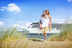 Couple Beach Cruise Vacation Holiday Leisure Summer Concept Stock Photo