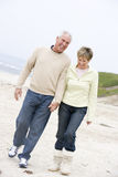 Couple at the beach holding hands and smiling Royalty Free Stock Photos