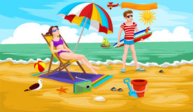 Couple at the Beach, illustration Stock Photo