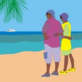 Couple on the beach. Illustration of an elderly couple on the beach watching the white ship on the horizon Royalty Free Stock Image