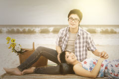 Couple at beach with instagram effect Royalty Free Stock Photography