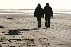 Couple at the beach Island of Fanoe in Denmark Stock Images