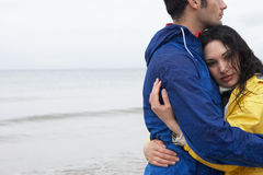 Couple on beach in love Stock Photo