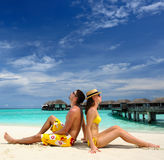 Couple on a beach at Maldives Royalty Free Stock Photos