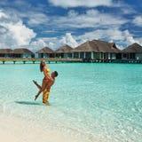 Couple on a beach at Maldives Royalty Free Stock Photo