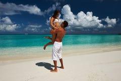 Couple on a beach at Maldives Stock Image