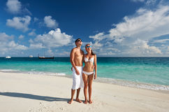 Couple on a beach at Maldives Royalty Free Stock Image
