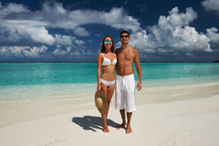 Couple on a beach at Maldives Royalty Free Stock Images