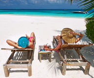 Couple on a beach at Maldives Royalty Free Stock Photography
