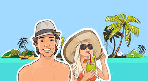 Couple Beach Man Woman In Hat, Girl Sunglasses Drink Cocktail Sea Shore Tropical Summer Vacation Stock Photos