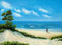 Couple at the beach. Original oil painting of  Ocean and beach on canvas.Young couple enjoying the landscape.Modern Impressionism Royalty Free Stock Photo