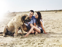 Couple on the beach playing with pet dog. Royalty Free Stock Images