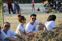 Couple on the beach. PRANBURI, THAILAND - FEB 14: 'Boy Sittichai' Singer from AF3 and his girlfriend 'Fai' is invite to join valentine event on the beach on Feb royalty free stock images