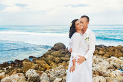 Couple on the beach. Romantic adult couple on vacation Royalty Free Stock Photos