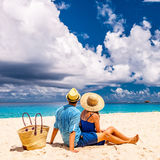 Couple on a beach at Seychelles Stock Photos