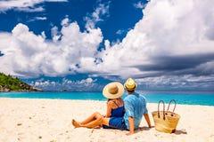 Couple on a beach at Seychelles Stock Photos