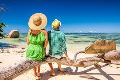 Couple on a beach at Seychelles Stock Photography