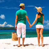 Couple on a beach at Seychelles Royalty Free Stock Photography