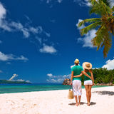 Couple on a beach at Seychelles Stock Images