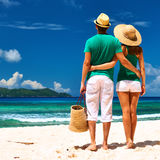 Couple on a beach at Seychelles Royalty Free Stock Images