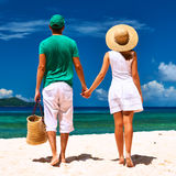 Couple on a beach at Seychelles Stock Photography