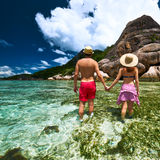 Couple on a beach at Seychelles Royalty Free Stock Photos