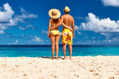 Couple on a beach at Seychelles Royalty Free Stock Image
