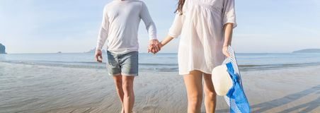 Couple On Beach Summer Vacation, Beautiful Young Happy People In Love Walking, Man Woman Smile Holding Hands Stock Image