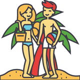Couple on beach, summer vacation, happy young woman and man relaxing concept. vector illustration