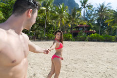 Couple On Beach Summer Vacation, Young People In Love Walking, Man Woman Holding Hands Sea Ocean Resort Stock Image